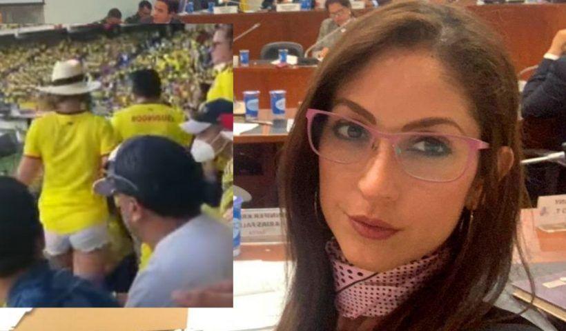 """La Representante a la Cámara hizo poner la cabeza como """"Abanico Sanyo"""" a más de uno en el Estadio Metropolitano."""